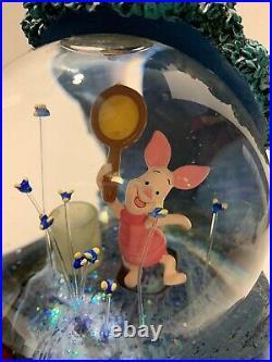 Vtg Disney Winnie the Pooh Light Up Musical Snow Globe Fireflies see Video